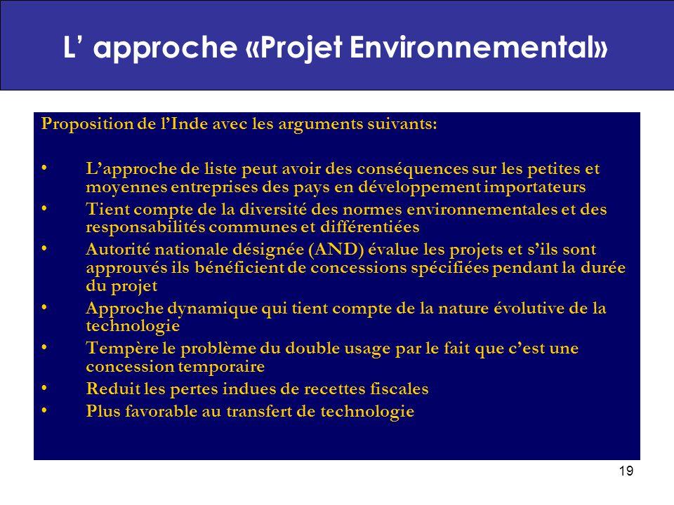 L' approche «Projet Environnemental»