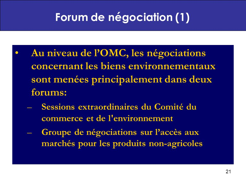 Forum de négociation (1)