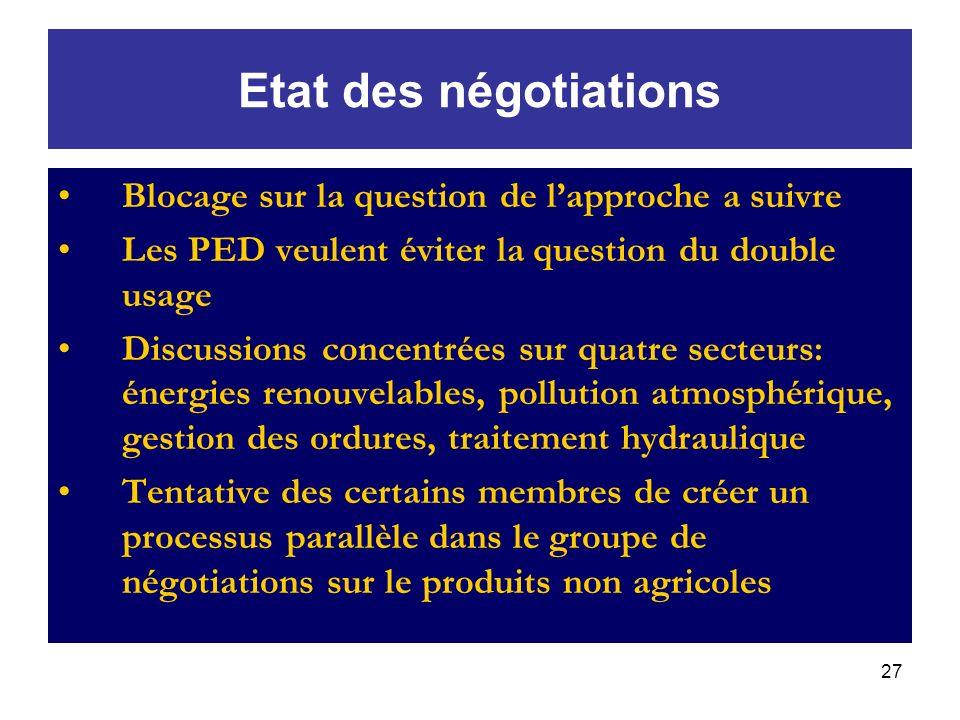 Etat des négotiations Blocage sur la question de l'approche a suivre