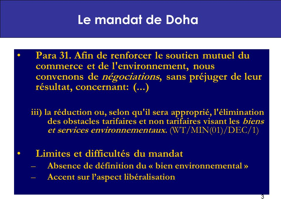 Le mandat de Doha