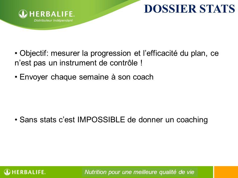 DOSSIER STATS Objectif: mesurer la progression et l'efficacité du plan, ce n'est pas un instrument de contrôle !
