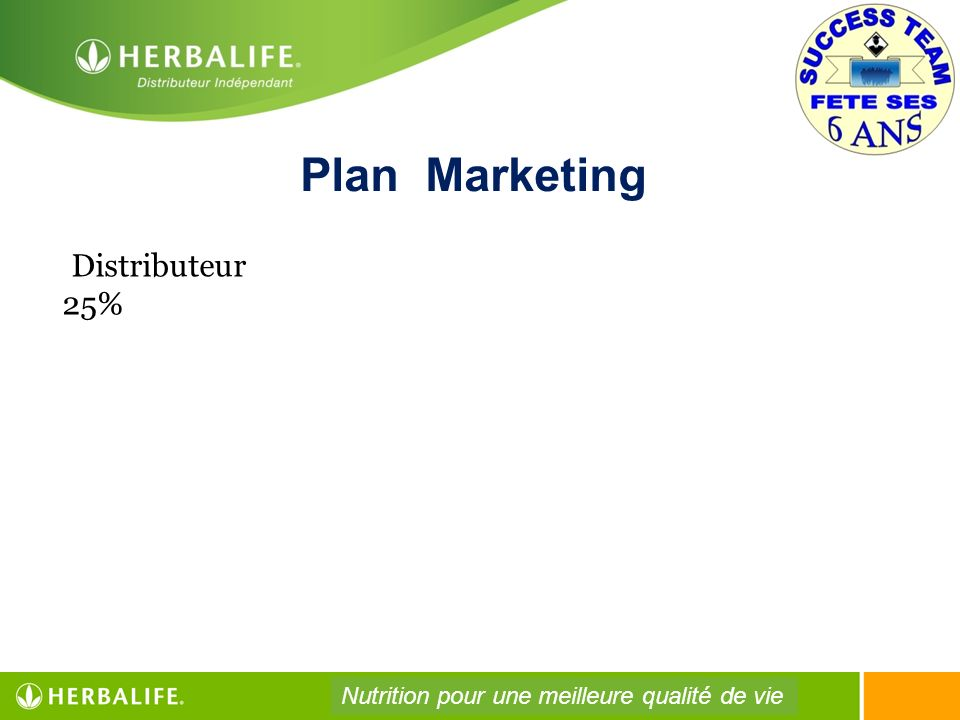 Plan Marketing Distributeur 25%
