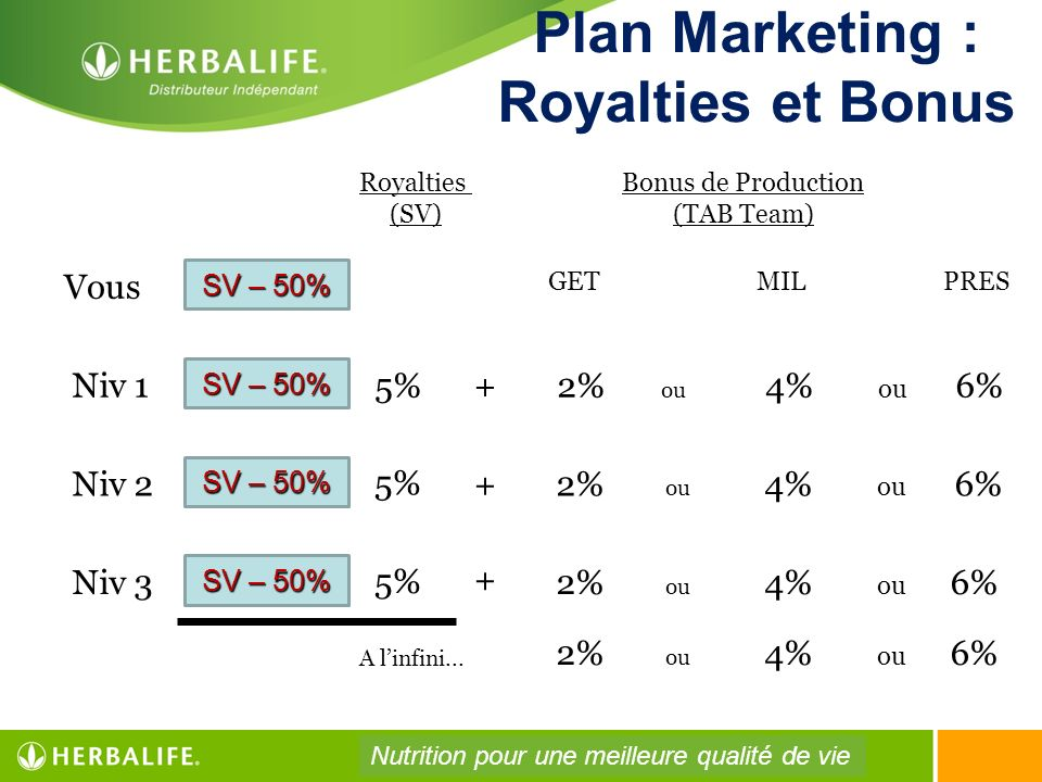 Plan Marketing : Royalties et Bonus