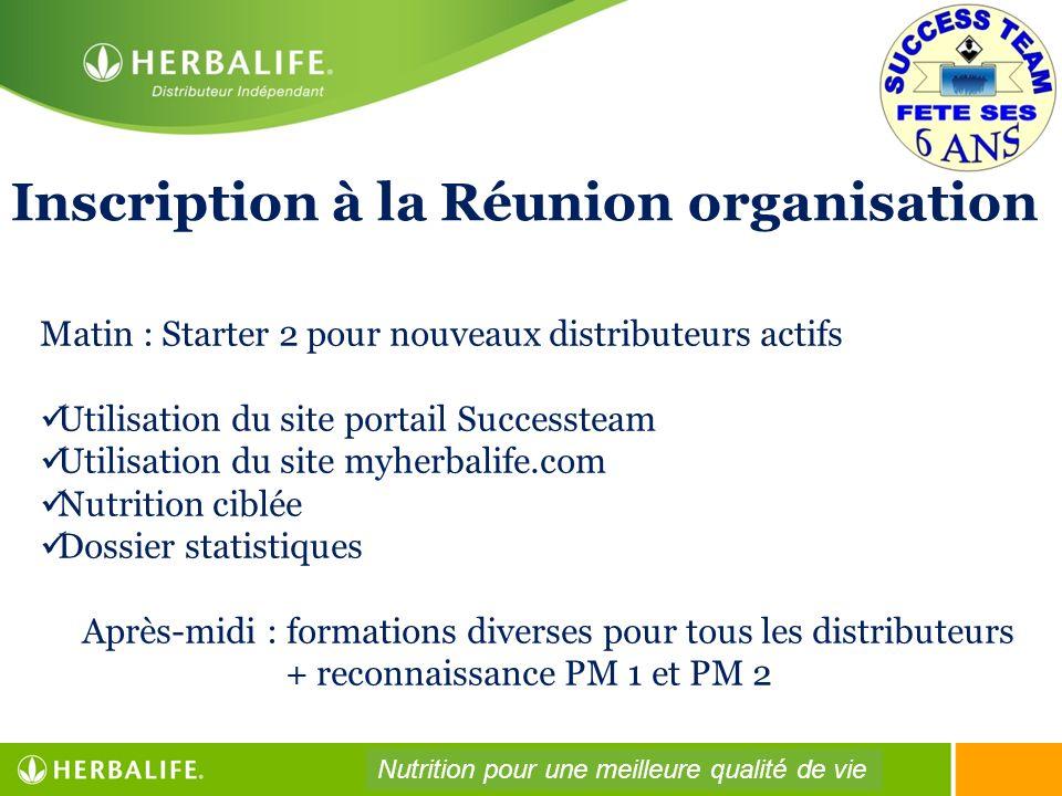 Inscription à la Réunion organisation
