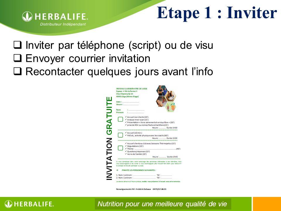 Etape 1 : Inviter Inviter par téléphone (script) ou de visu