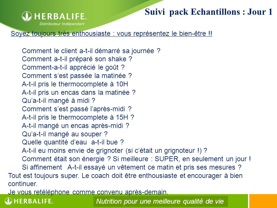 Suivi pack Echantillons : Jour 1