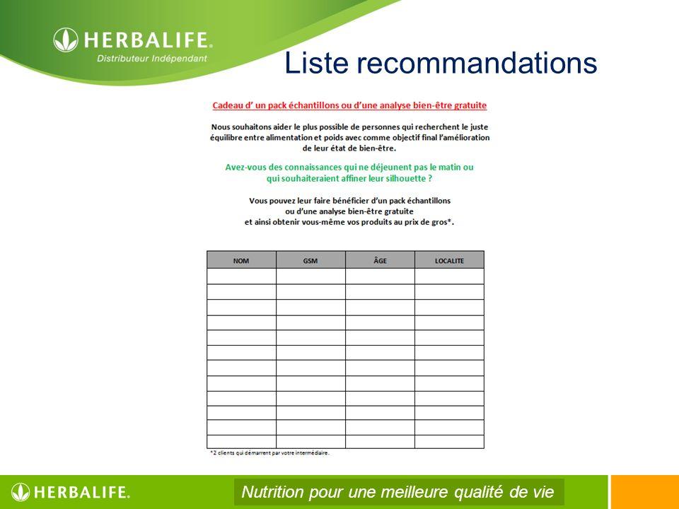 Liste recommandations