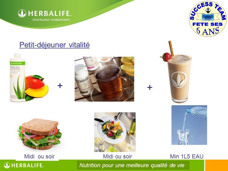 + + Petit-déjeuner vitalité Midi ou soir Midi ou soir Min 1L5 EAU