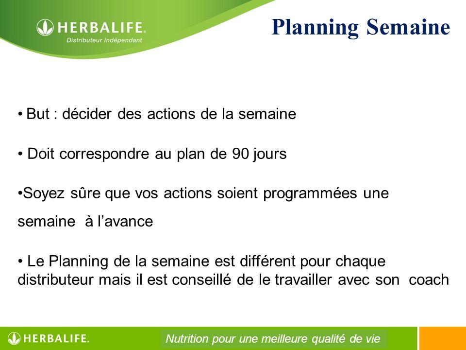 Planning Semaine But : décider des actions de la semaine