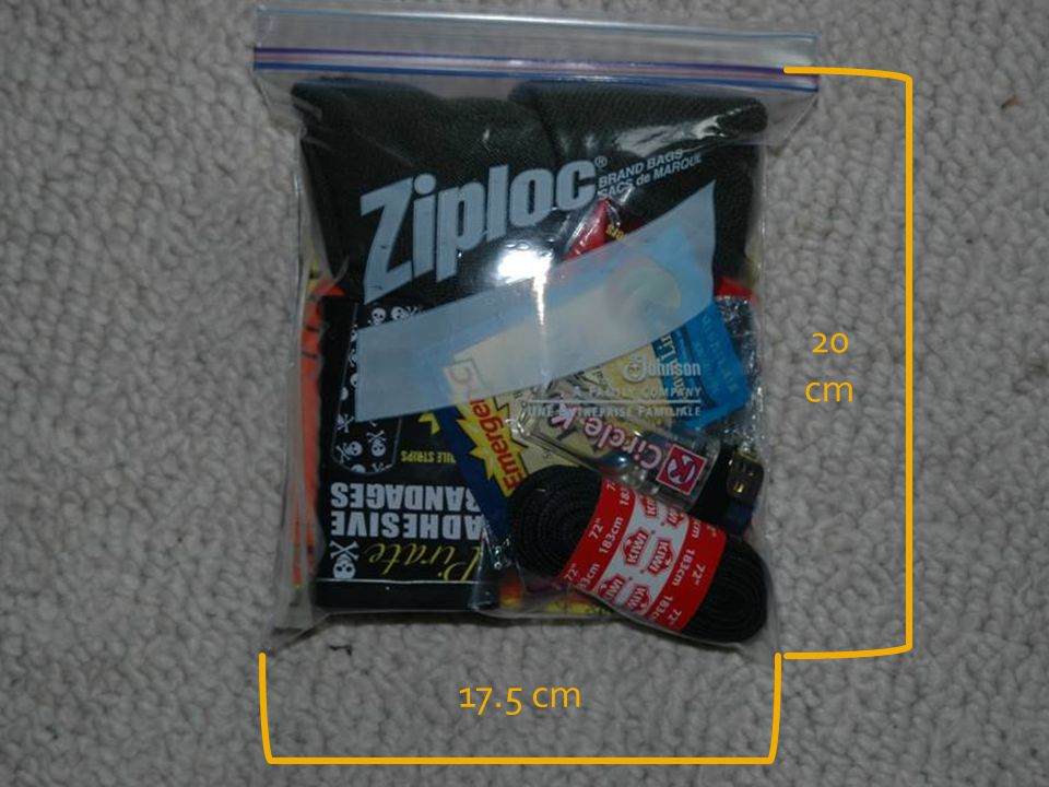 20 cm Fits in 1qt ziplock with a little room to spare. (17.5x20cm) 17.5 cm