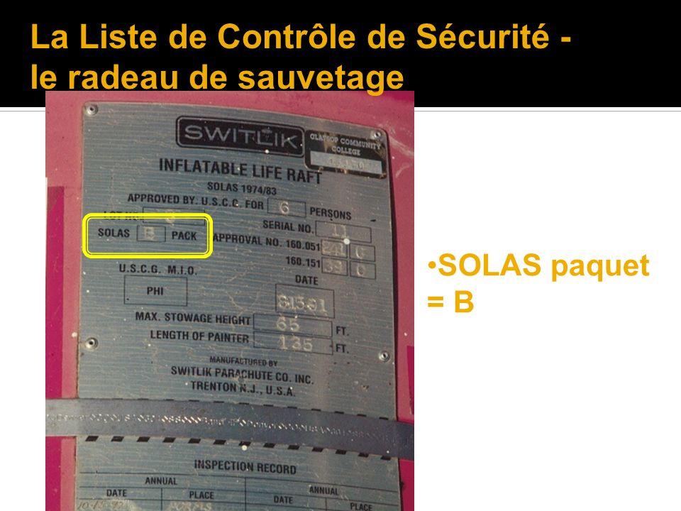 La Liste de Contrôle de Sécurité - le radeau de sauvetage