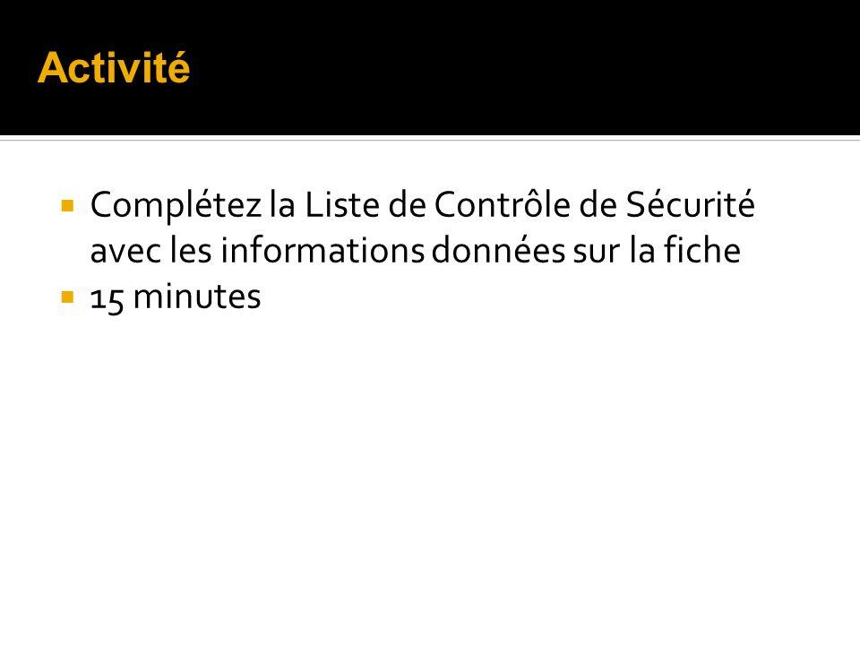 Activité Complétez la Liste de Contrôle de Sécurité avec les informations données sur la fiche.