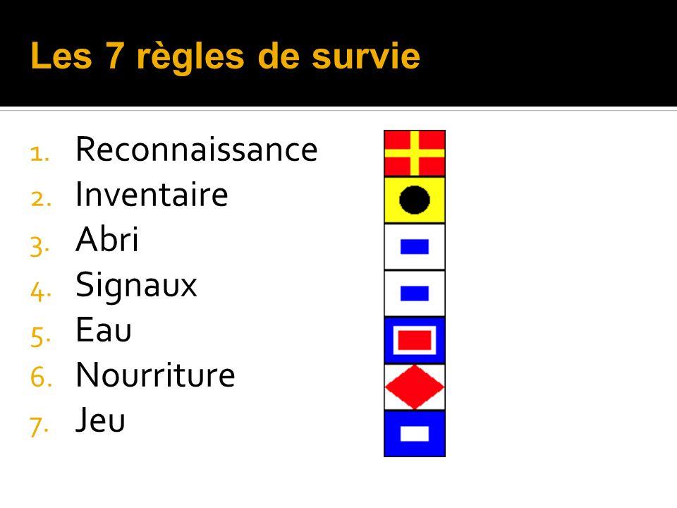 Les 7 règles de survie Reconnaissance Inventaire Abri Signaux Eau Nourriture Jeu
