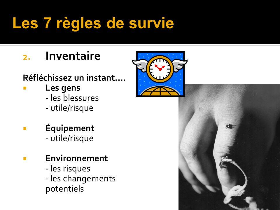 Les 7 règles de survie Inventaire Réfléchissez un instant…. Les gens