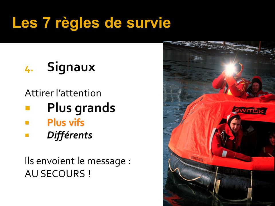 Les 7 règles de survie Signaux Plus grands Attirer l'attention