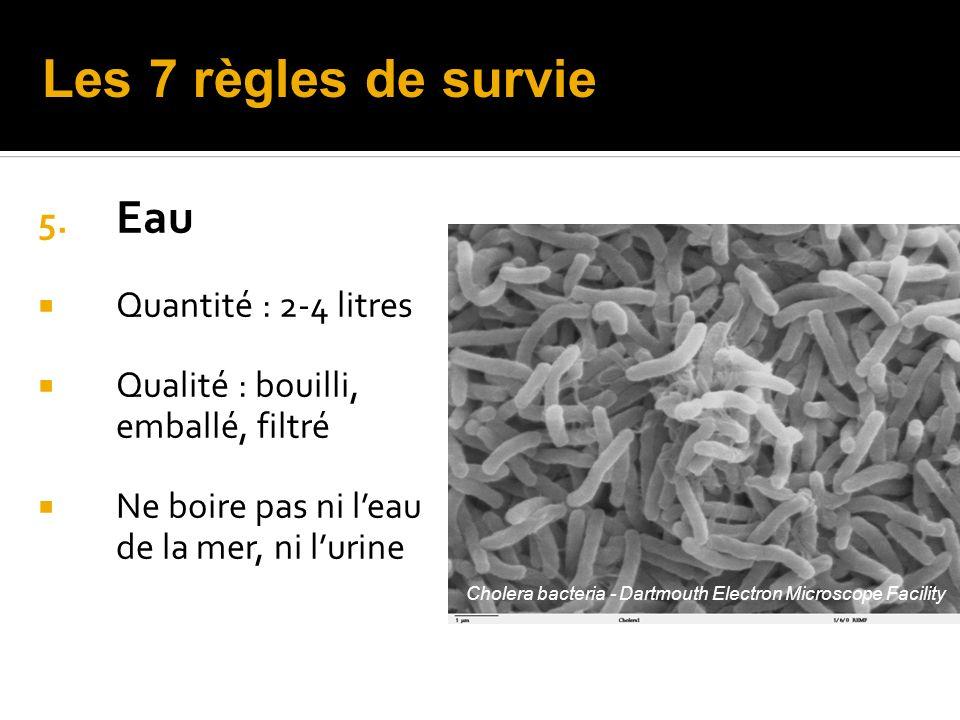 Les 7 règles de survie Eau Quantité : 2-4 litres