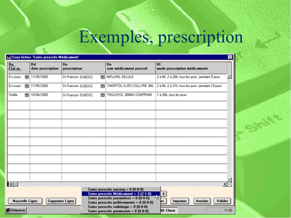 Exemples, prescription