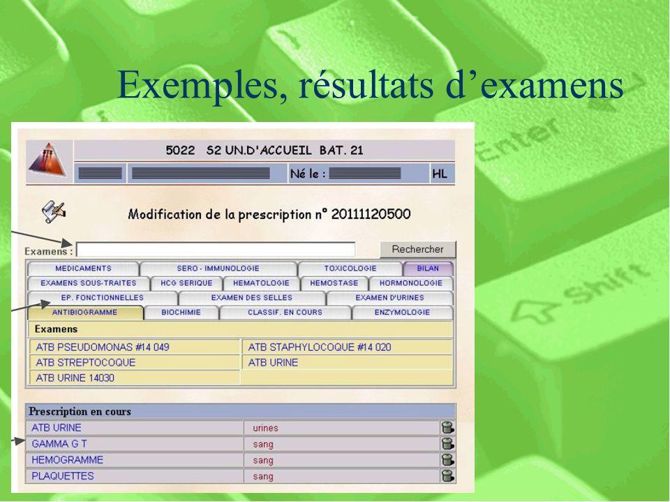 Exemples, résultats d'examens