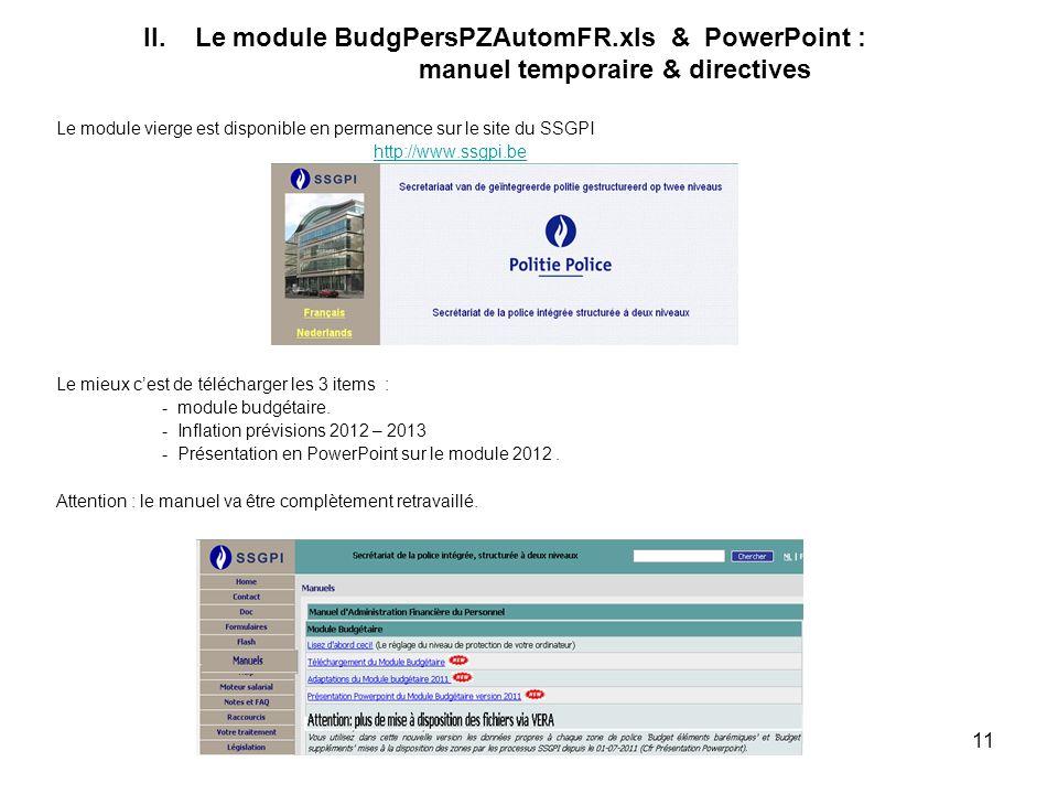 II. Le module BudgPersPZAutomFR. xls & PowerPoint :