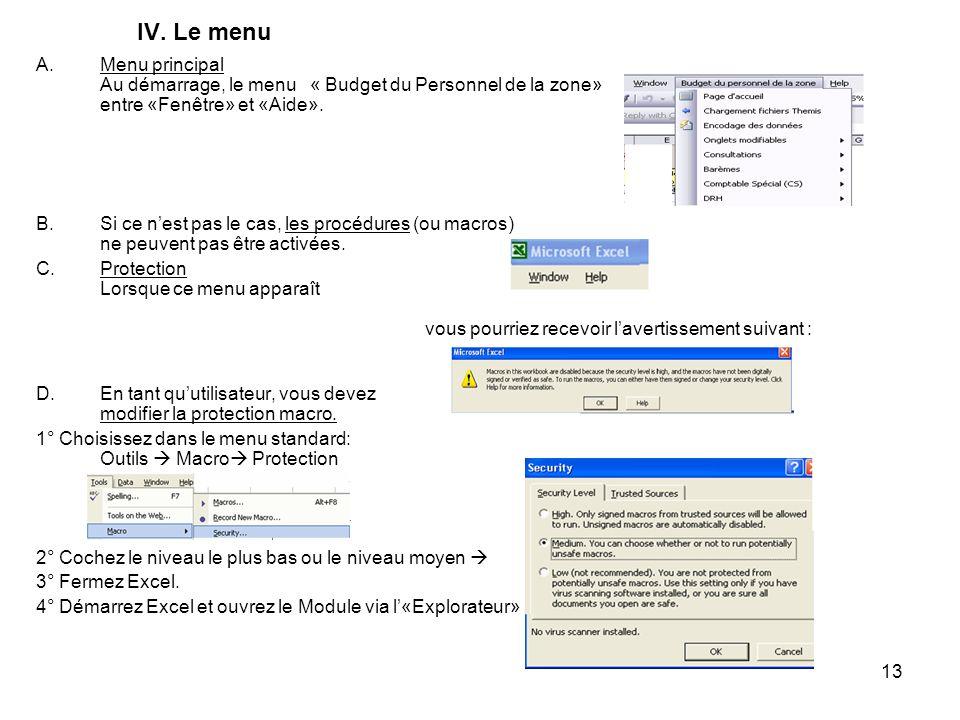 IV. Le menu Menu principal Au démarrage, le menu « Budget du Personnel de la zone» entre «Fenêtre» et «Aide».