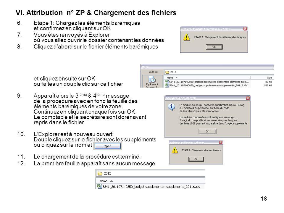 VI. Attribution n° ZP & Chargement des fichiers
