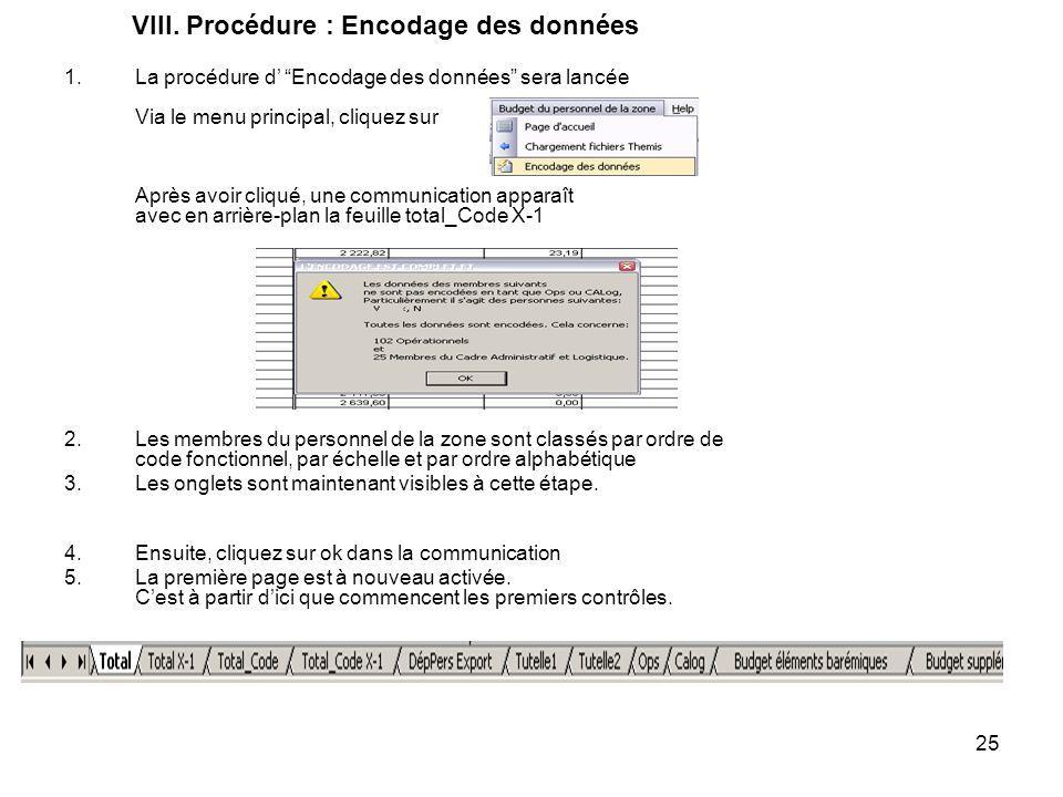 VIII. Procédure : Encodage des données