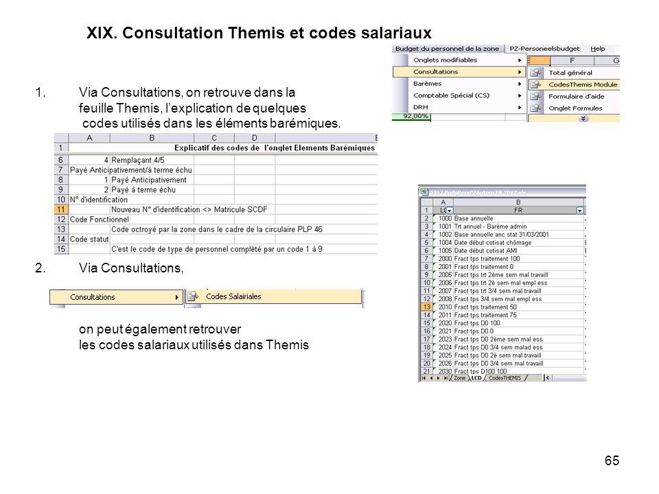 XIX. Consultation Themis et codes salariaux
