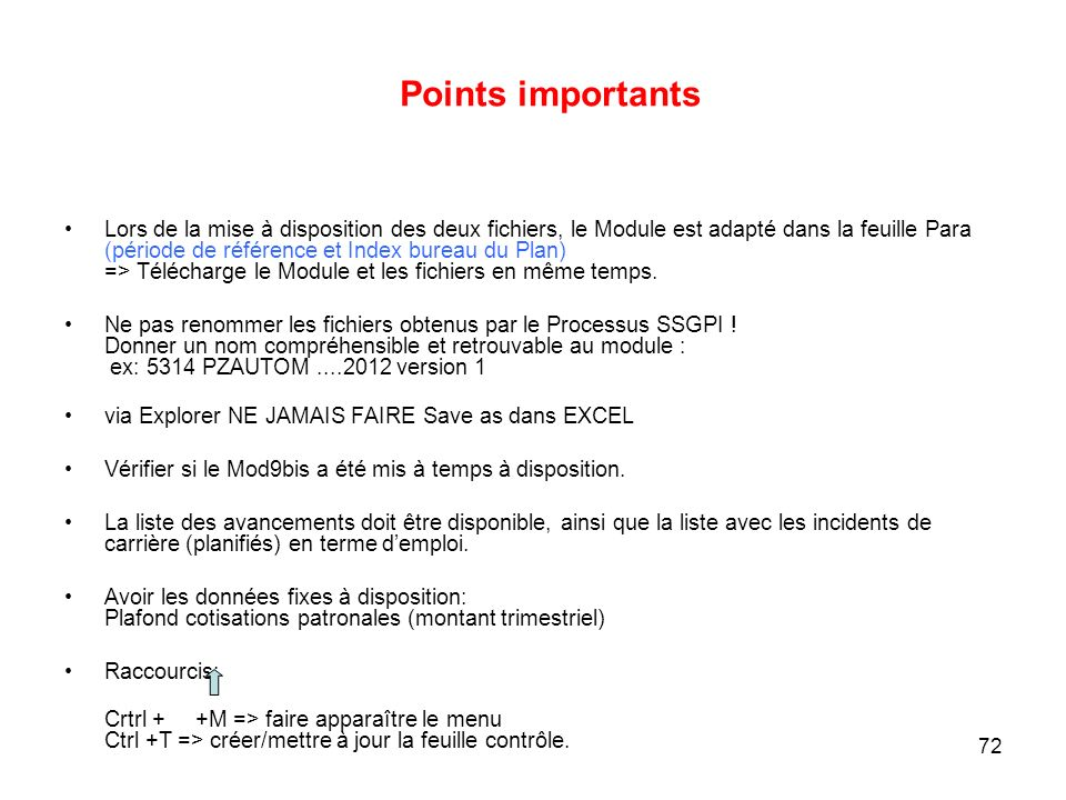 Points importants
