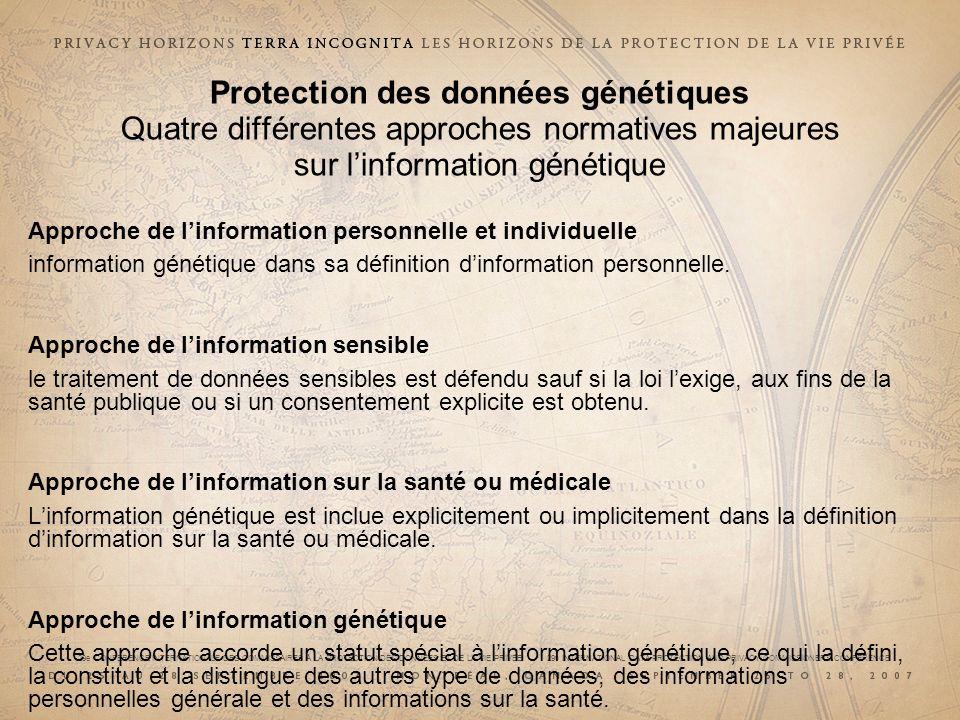 Protection des données génétiques Quatre différentes approches normatives majeures sur l'information génétique