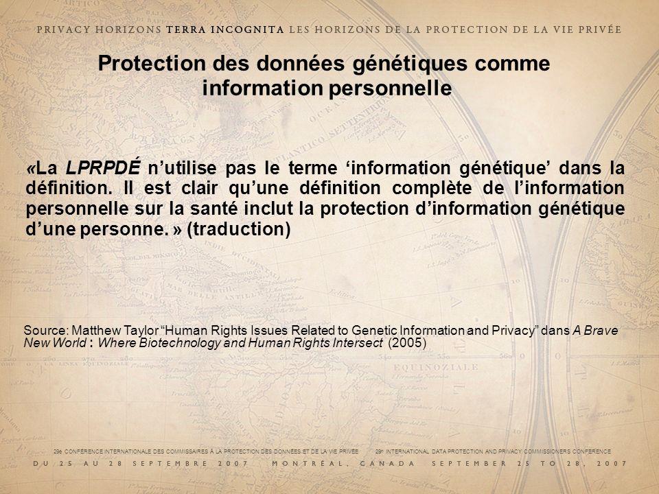 Protection des données génétiques comme information personnelle