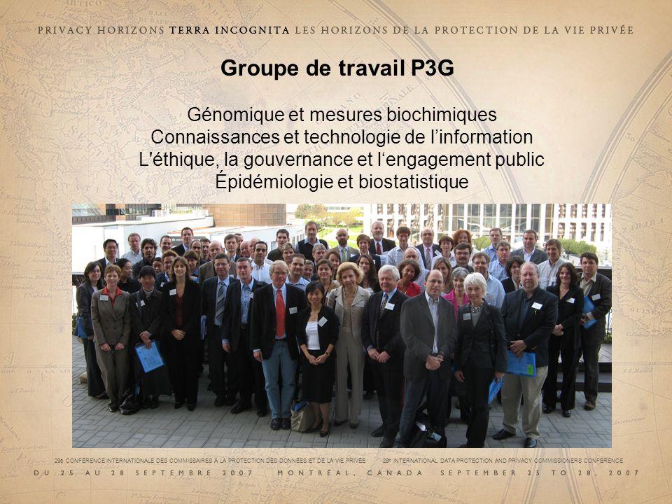 Groupe de travail P3G Génomique et mesures biochimiques