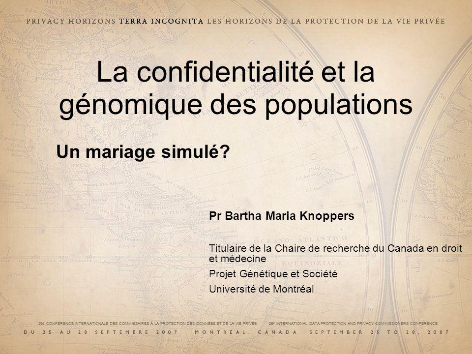 La confidentialité et la génomique des populations