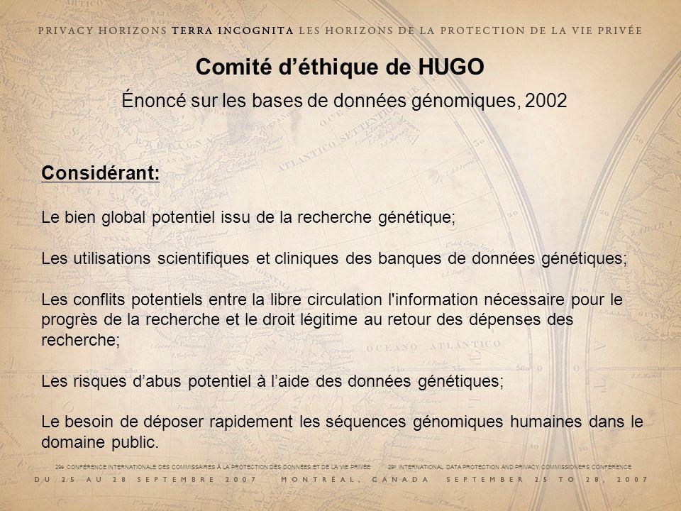 Comité d'éthique de HUGO