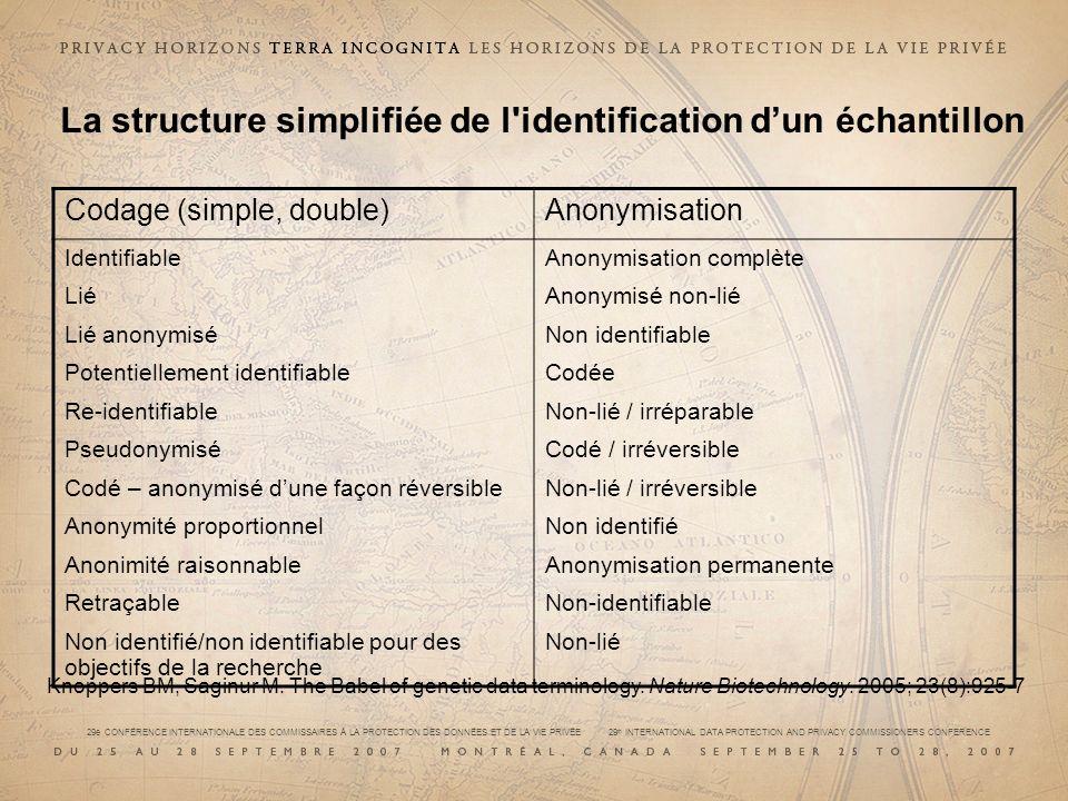 La structure simplifiée de l identification d'un échantillon