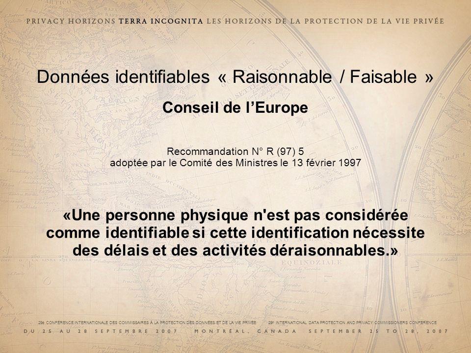 Données identifiables « Raisonnable / Faisable » Conseil de l'Europe Recommandation N° R (97) 5 adoptée par le Comité des Ministres le 13 février 1997