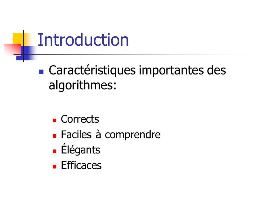 Introduction Caractéristiques importantes des algorithmes: Corrects