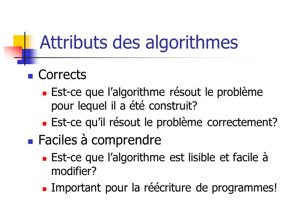 Attributs des algorithmes
