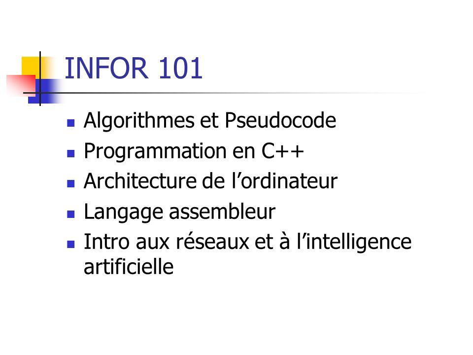 INFOR 101 Algorithmes et Pseudocode Programmation en C++