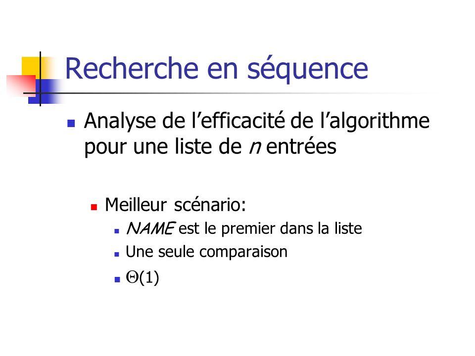 Recherche en séquence Analyse de l'efficacité de l'algorithme pour une liste de n entrées. Meilleur scénario:
