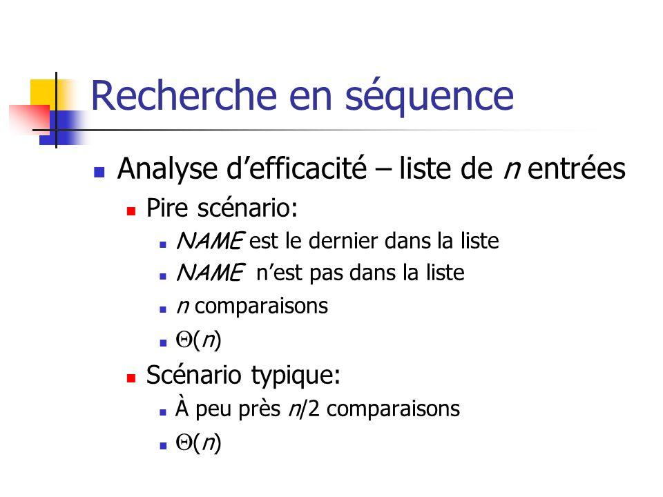 Recherche en séquence Analyse d'efficacité – liste de n entrées