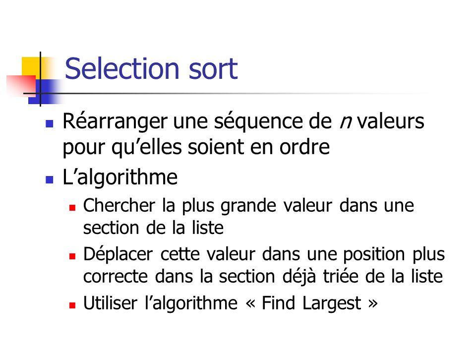 Selection sort Réarranger une séquence de n valeurs pour qu'elles soient en ordre. L'algorithme.