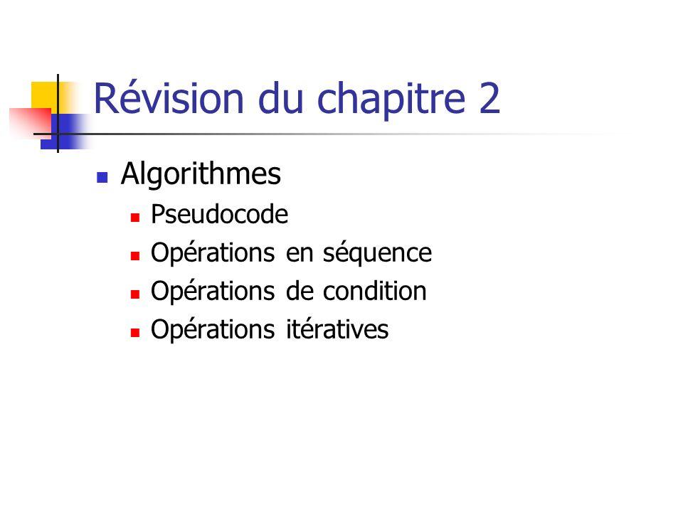 Révision du chapitre 2 Algorithmes Pseudocode Opérations en séquence