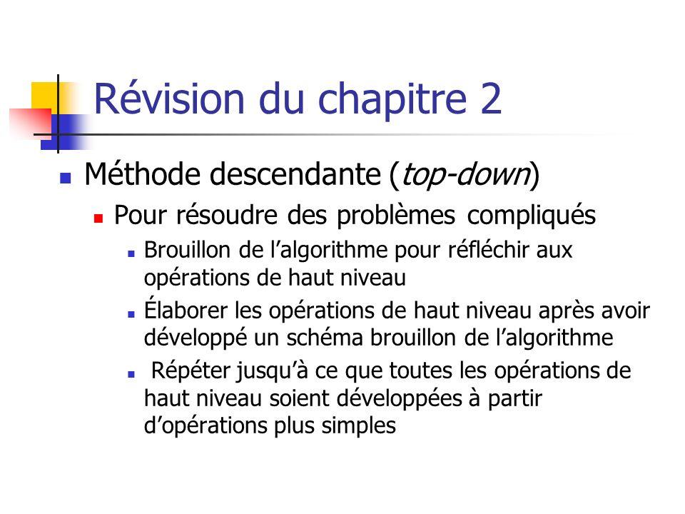 Révision du chapitre 2 Méthode descendante (top-down)