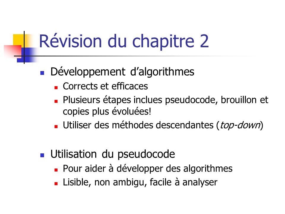 Révision du chapitre 2 Développement d'algorithmes