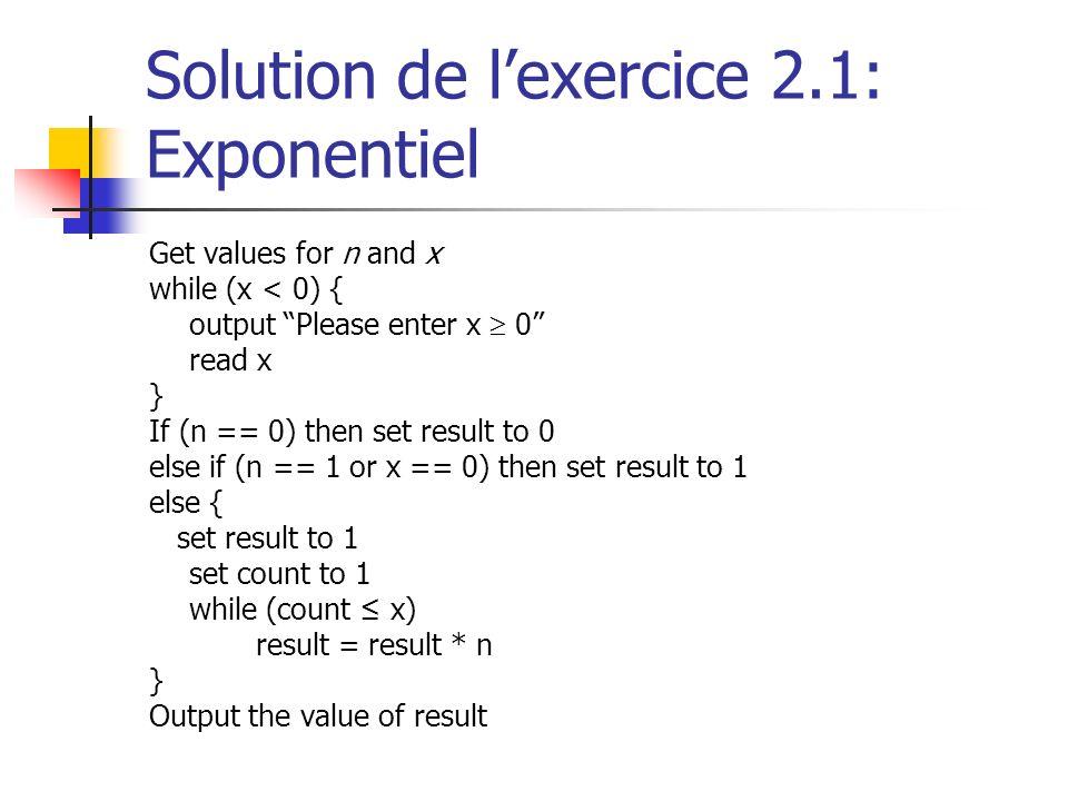 Solution de l'exercice 2.1: Exponentiel
