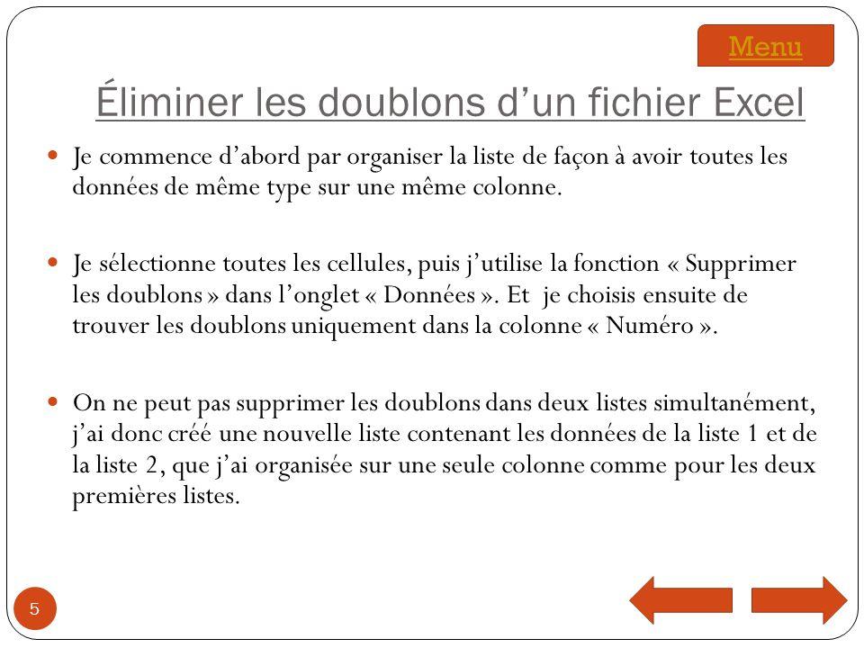 Éliminer les doublons d'un fichier Excel