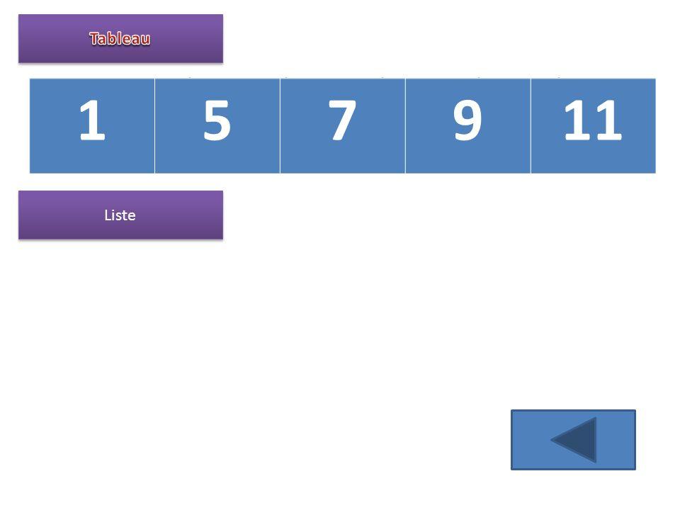 Tableau 1 5 7 9 11 11 9 7 5 1 nil Liste