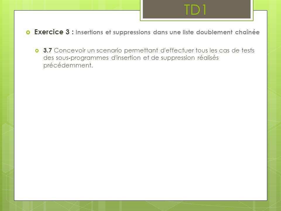 TD1 Exercice 3 : Insertions et suppressions dans une liste doublement chaînée.
