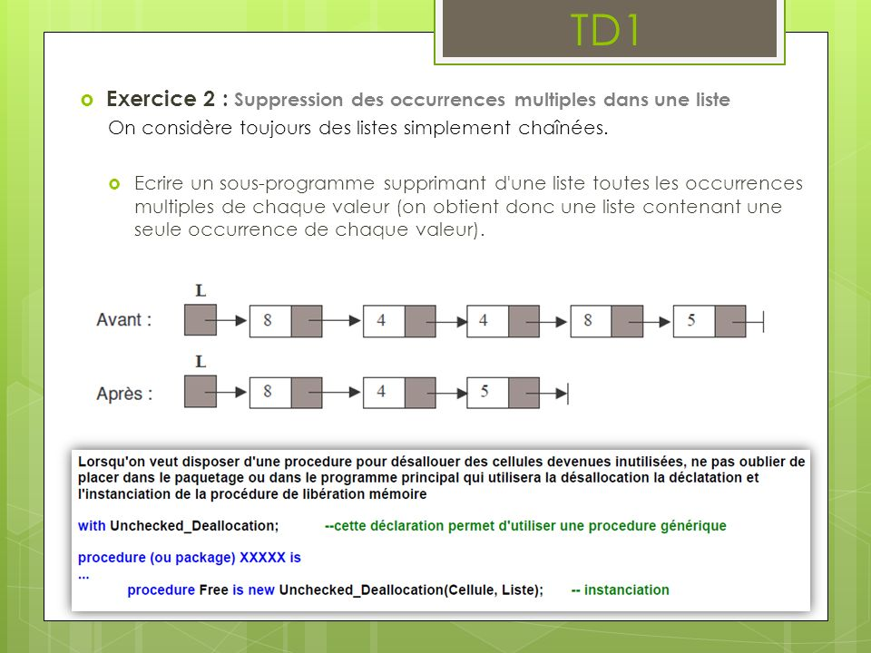 TD1 Exercice 2 : Suppression des occurrences multiples dans une liste