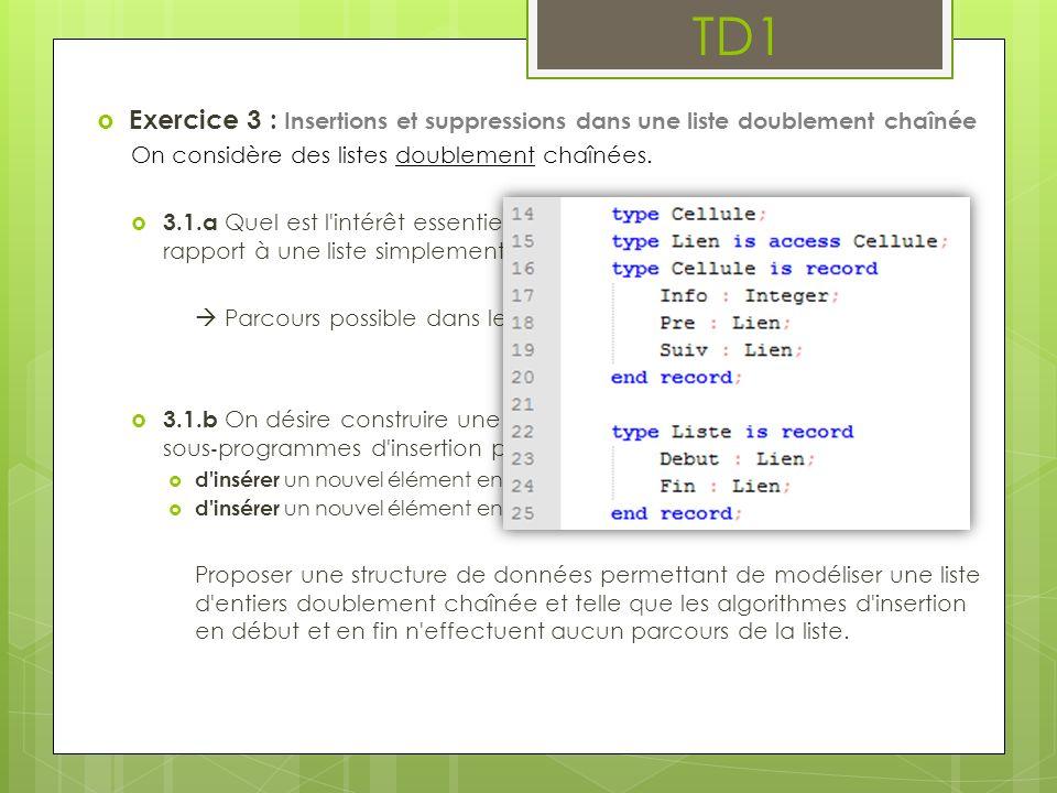 TD1 Exercice 3 : Insertions et suppressions dans une liste doublement chaînée. On considère des listes doublement chaînées.
